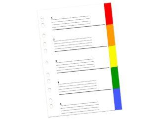 Plastic dividers A4, color 5/set