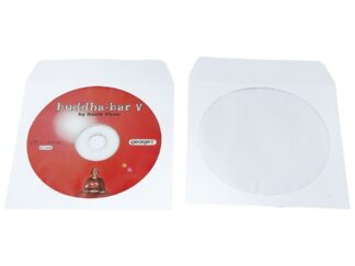 CD-ROM self-autoadhesive white envelope, 125x125mm with transparent film, 90gr/m²