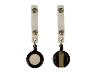 Plastic clip with retractable wire for badges