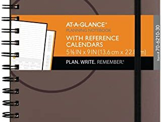 """Planning Notebook by AT-A-GLANCE, Undated, 5- 1/2"""" x 9"""", Plan. Write. Remember, with Reference Calendars, Gray"""
