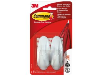 Medium design hook 2 hooks + 4 double adhesive strips / 3M Command package