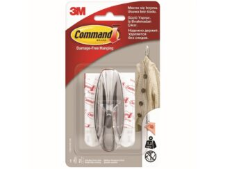 Chromed look hook 1 hook + 2 strips double adhesive / 3M Command package