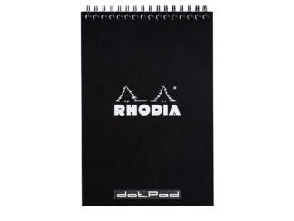 Rhodia Classic BLACK wirebound pad, 14,8x21cm, 80 detach. sh. DOT 80g