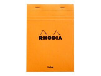 Rhodia ORANGE head stapled pad Yellow, 14,8x21cm, 80sh. sq.5x5 80g