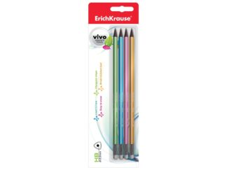 Set of 4 graphite pencils with eraser Vivo, in blister EK