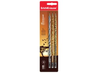 Set of 3 graphite pencils with eraser Savanna, in blister EK