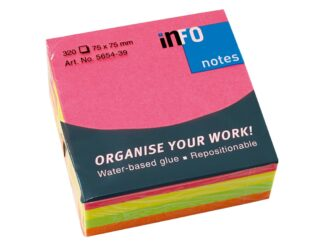 Brilliant Mix Cube, 320 sheets per cube ,75x75mm, Info Notes