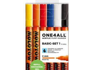 Acrylic marker One4All 127HS 2 mm Wallet Basic-Set 1 6 pcs.