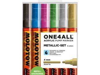 Acrylic marker One4All 227HS 4 mm Wallet Metallic-Set 6 pcs.