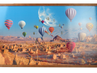 Clock framed picture 50X100 CM BALOON