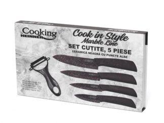 KNIFE SET 5 PIECES, BLACK MARBLE CERAMIC