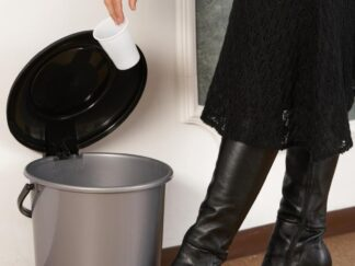Garbage can with pedal 11.7 L, silver