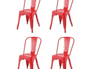 SET OF 4 PIECES RETRO RED METAL CHAIR