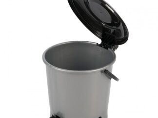 Trash can with pedal 6.7 L, silver