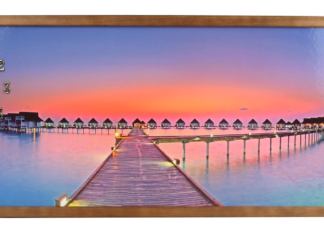 PAINTING WITH FRAMED CLOCK35X100 CM SUNSET