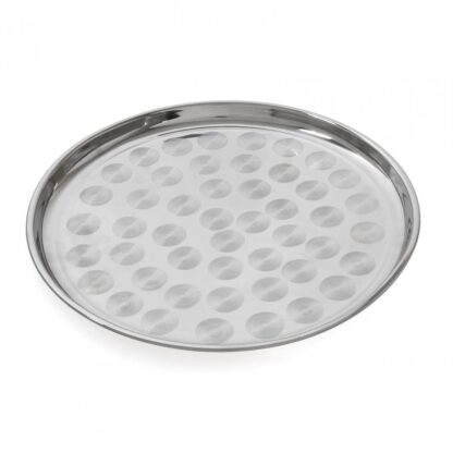 Round serving tray, stainless steel, 35 CM