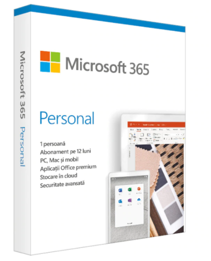 Retail Cloud License Microsoft 365 Personal Romanian Subscription 1 year Medialess P6