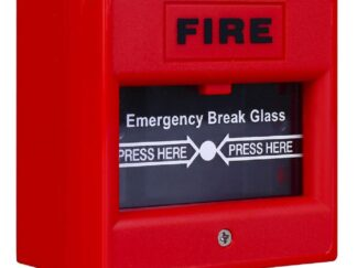 Fire button with glass window Red