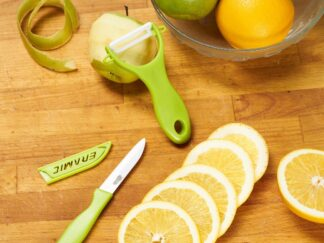 KNIFE SET 8CM + SHEATH CERAMIC BLADE GREEN