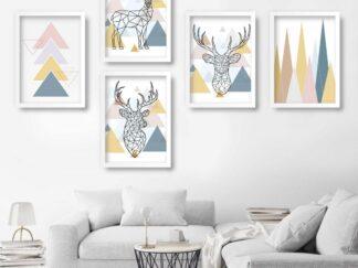 Set of 5 Sandinav decorative paintings