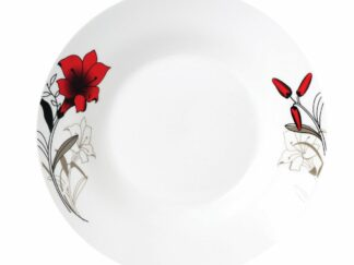 DEEP PORCELAIN PLATE 20CM, RED FLOWERS