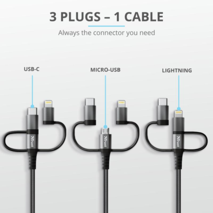 Trust Keyla Strong 3-In-1 USB cable 1m