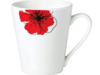 Set 12 mugs 310 ml Red flowers petal