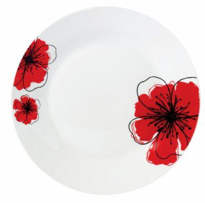 DESERT PORCELAIN PLATE.19CM, RED FLOWER