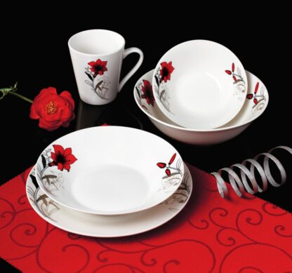 PORTABLE CUP 310 ML, RED FLOWERS