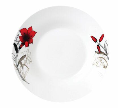 Set of 12 soup plates 20 cm, Red flowers leaf