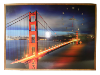 Clock framed picture 70X100 CM BRIDGE
