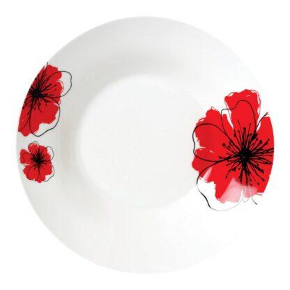 Set of 12 soup plates 20 cm, Red flowers petal