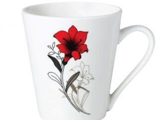 Set 12 mugs 310 ml Red flowers leaf