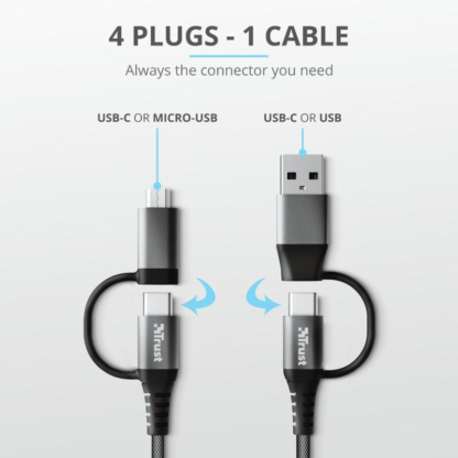 Trust Keyla Strong 4-In-1 USB Cable 1m