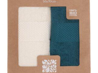 SET OF 2 BATH TOWELS 50X90 CM - BLUE MIX