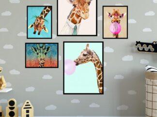 Set of 5 decorative paintings Zebra Fun