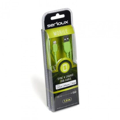 SERIOUX APPLE MFI CABLE 1M GREEN 05