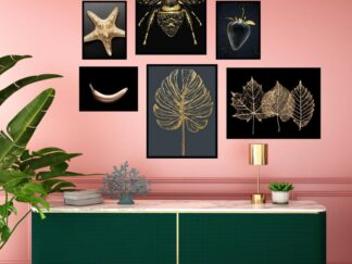 Set of 6 Gold Star decorative paintings