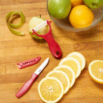 KNIFE SET 8CM + SHEATH CERAMIC BLADE, RED