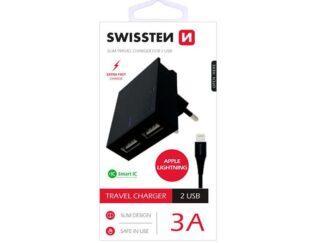 Charger + Cable Lightning Swissten 2xUSB black