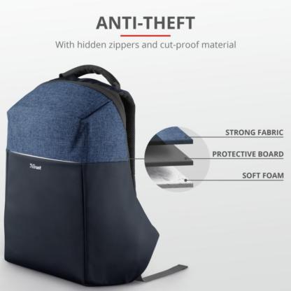 "Trust Nox Anti-theft Backpack 16"" Blue"