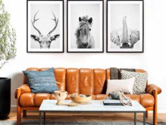 Set of 3 decorative paintings Animals BW