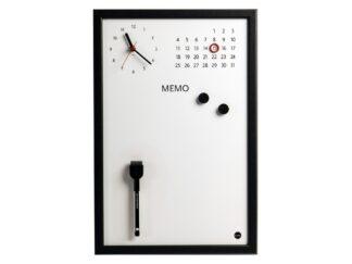 "Magnetic Clock ""Memo"", Grey Frame, 45x30cm"